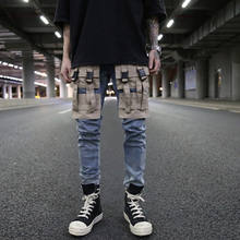 OEM  new style ripped pent style stock dropshipping men blue pocket cargo jeans