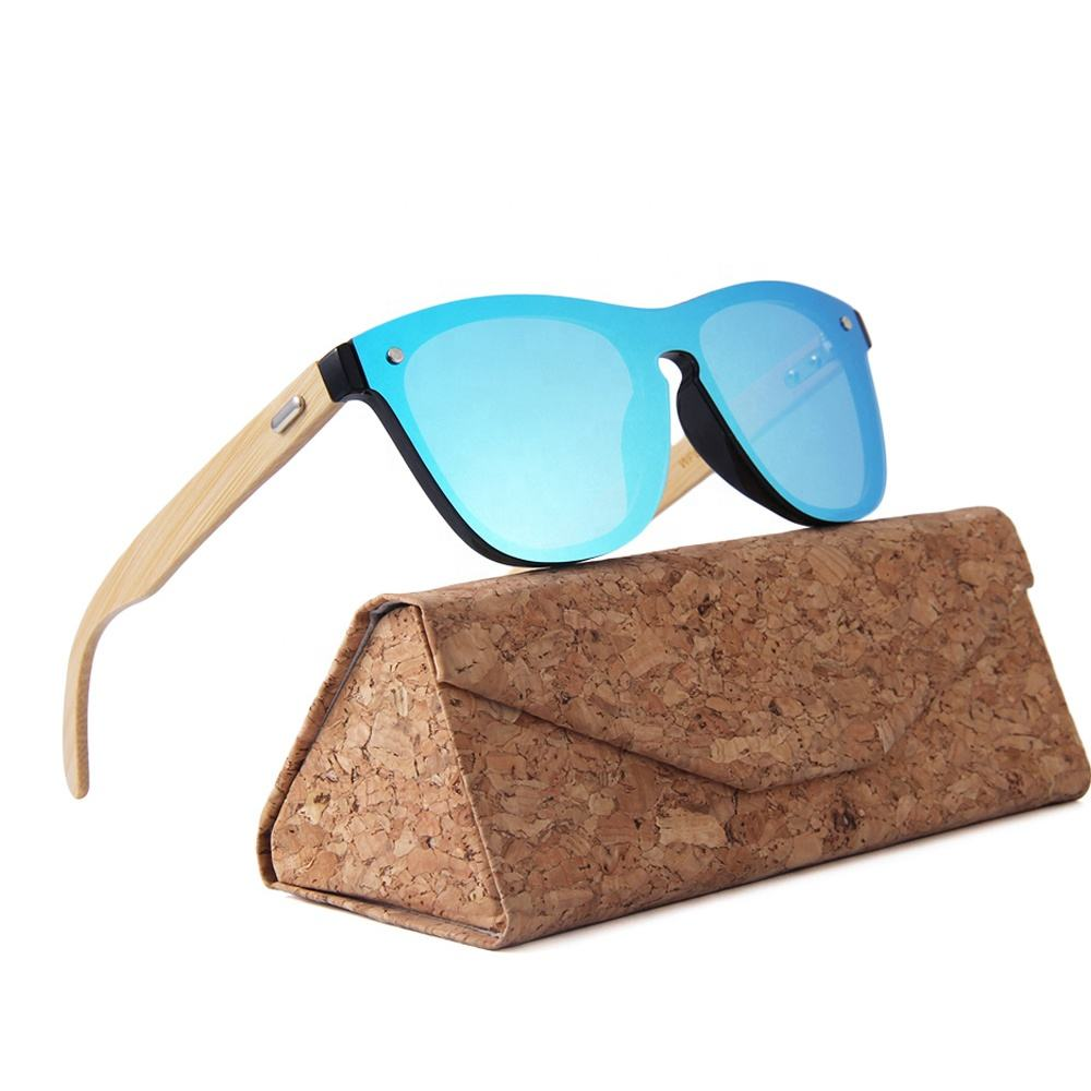 One piece sunglasses man oem custom logo wooden bamboo sunglasses for women 2019