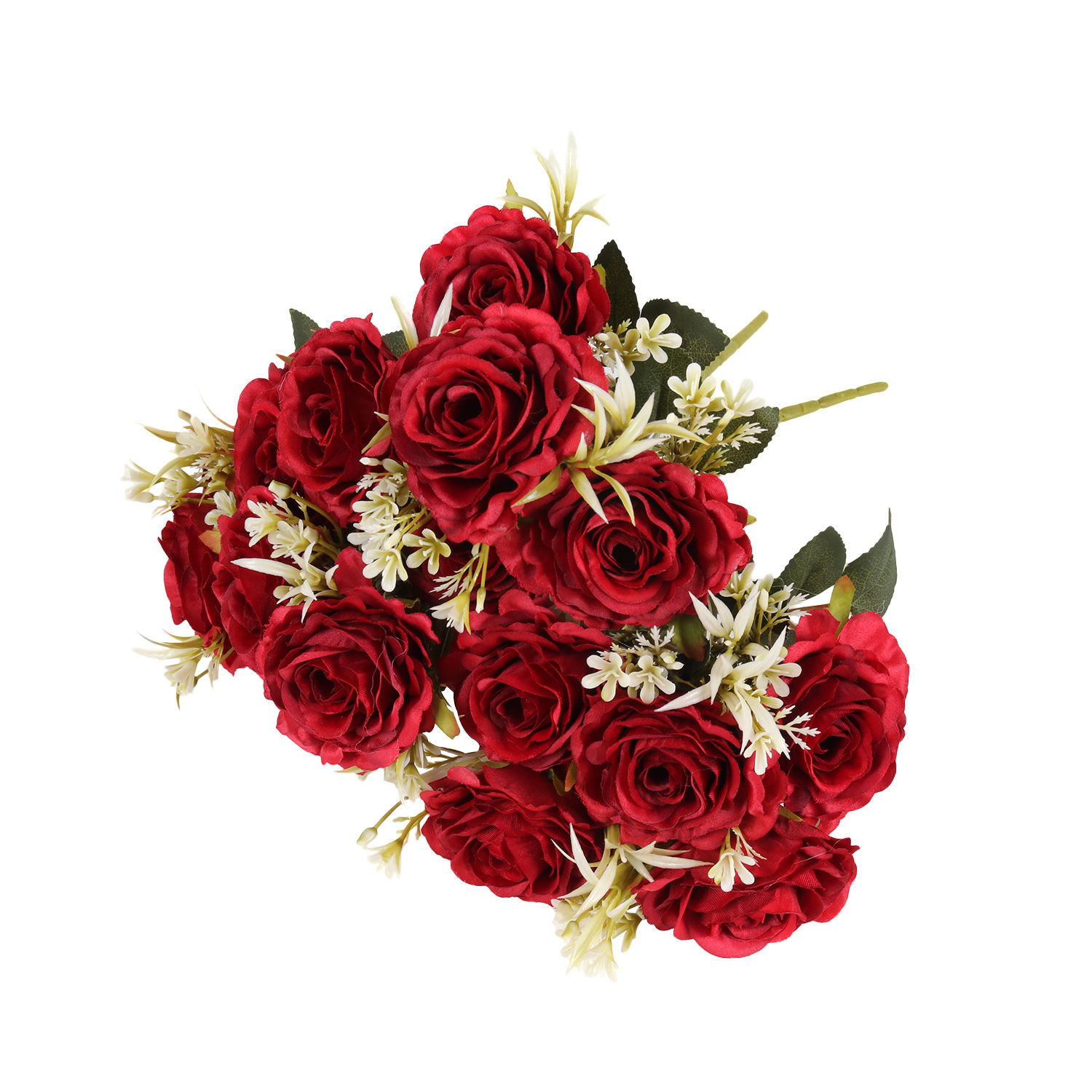 Gift flower valentines day bouquet arrangement bunch foam 5 artificial flowers heads polish roses for wedding decoration