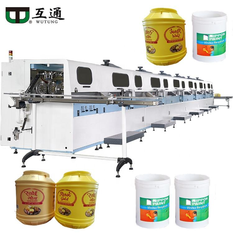 Wutung Uv Curing Automatische Btw Print Screen Printing Machine <span class=keywords><strong>Zeefdruk</strong></span> <span class=keywords><strong>Printer</strong></span> Voor Plastic Tun Bier Vat Jerrycan Fles
