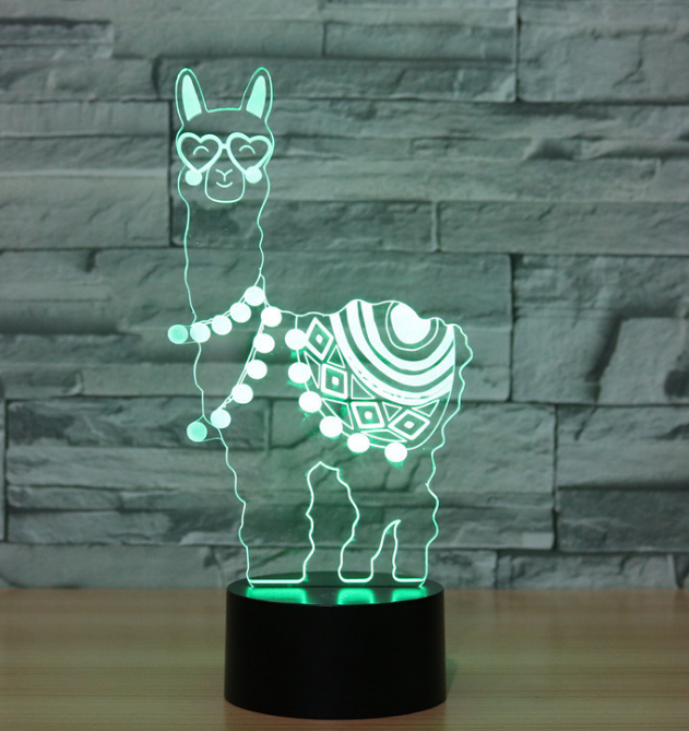 Night Light Lamps 3D Optical Illusion LED Alpaca Nightlights Night Stand Lovers Remote Control & RGB Display for Kids Boys Girls