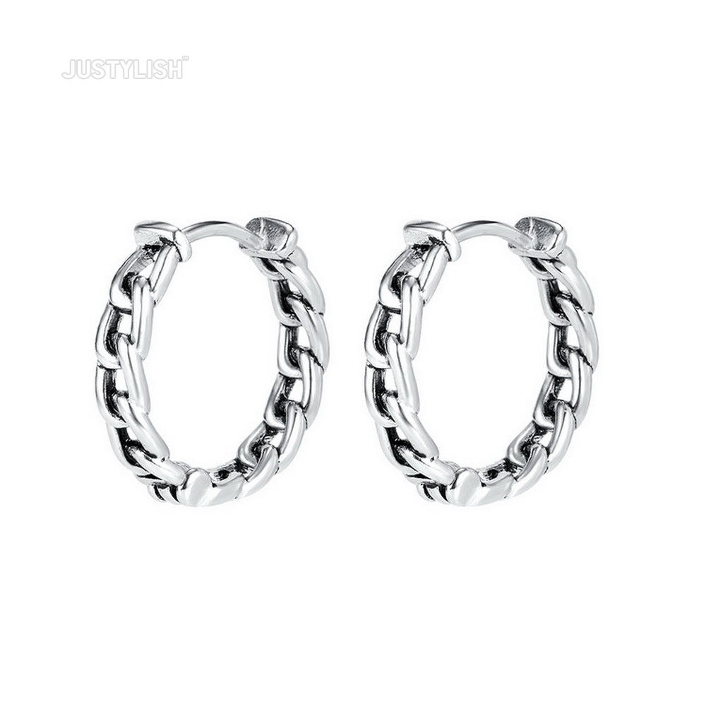 Justylish new design best seller stainless steel hoop earrings for Hip hop men