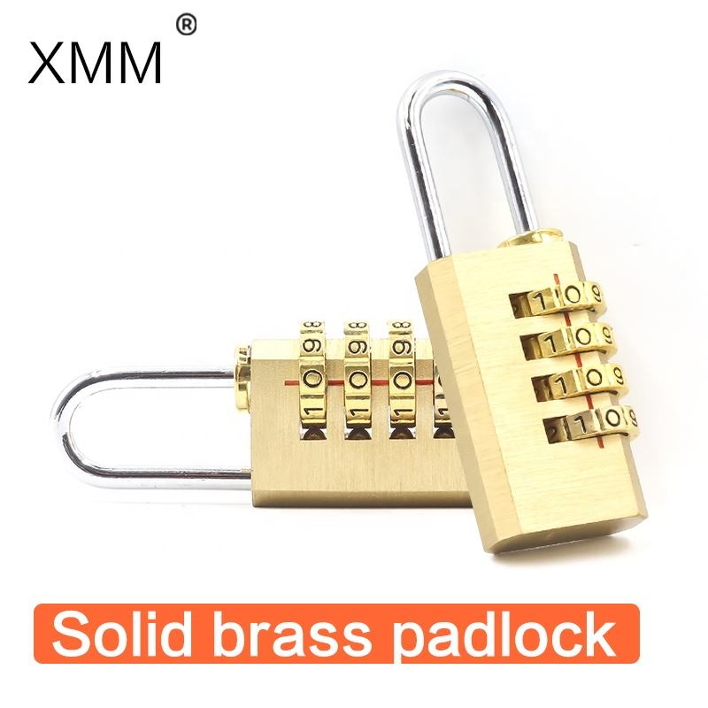 Combination Lock XMM-8041 Copper 20mm 4 Digital Brass Combination Lock Durable Security Lock For Travel Bag Customized LOGO Factory Directly