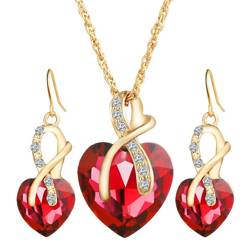 Fashion Jewelry Women Necklace Earrings Wedding Set Zircon Crystal Heart Necklace