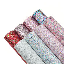 8pcs A4 Size Chunky Glitter Vinyl Synthetic Faux Leather sheets Fabric for Hair Bows Headband Head Clips Making