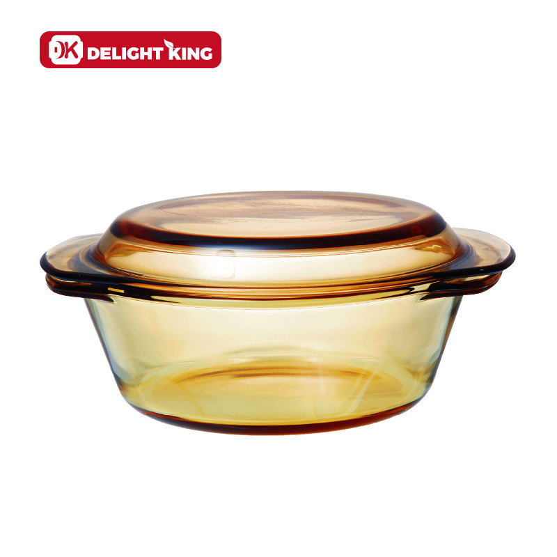 Multiple Sizes Amber borosilicate glass cooking casserole pot set/oven microwave save glass casseroles glass lid for soup