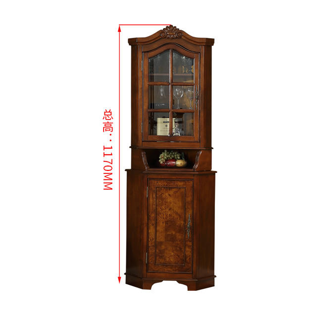 Quality Corner Cabinet Living Room Solid Wood Corner Cabinet accent curio display cabinet