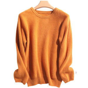 2020 New Trendy Women Loose Round Neck Pullover Ladies Knitwear 100% Merino Wool Sweater