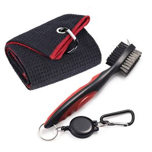 Wholesale customize golf club cleaning Brush Ultrafine Fiber Triple-fold Golf Towel Brush Toolkit