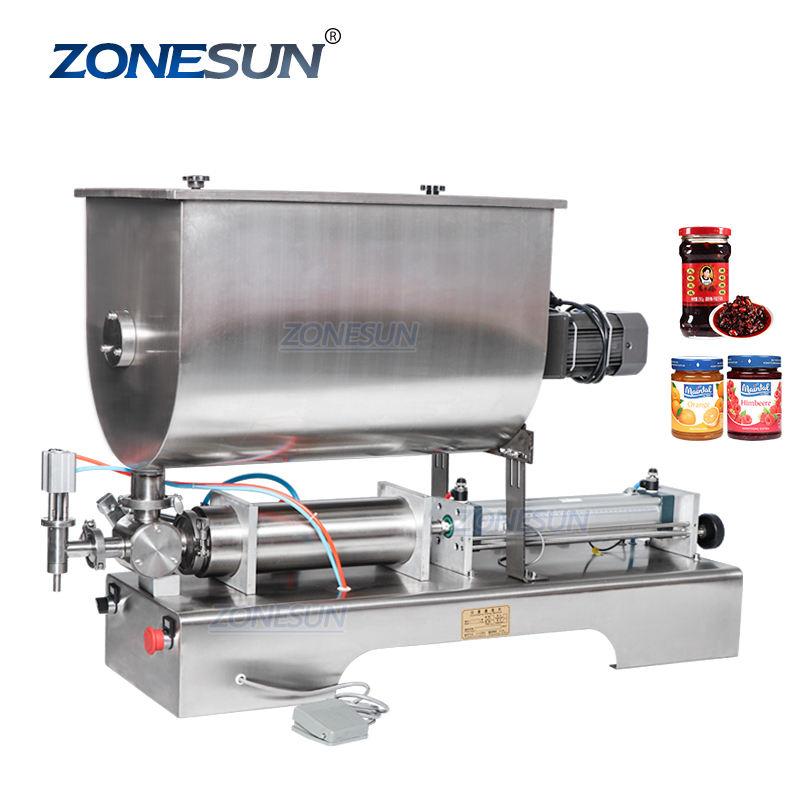 ZONESUN ZS-GTU1 Semi Automatic Curry Paste Jam Chili Sauce Filling Machine Pneumatic Slurry Mixing Filling Machine