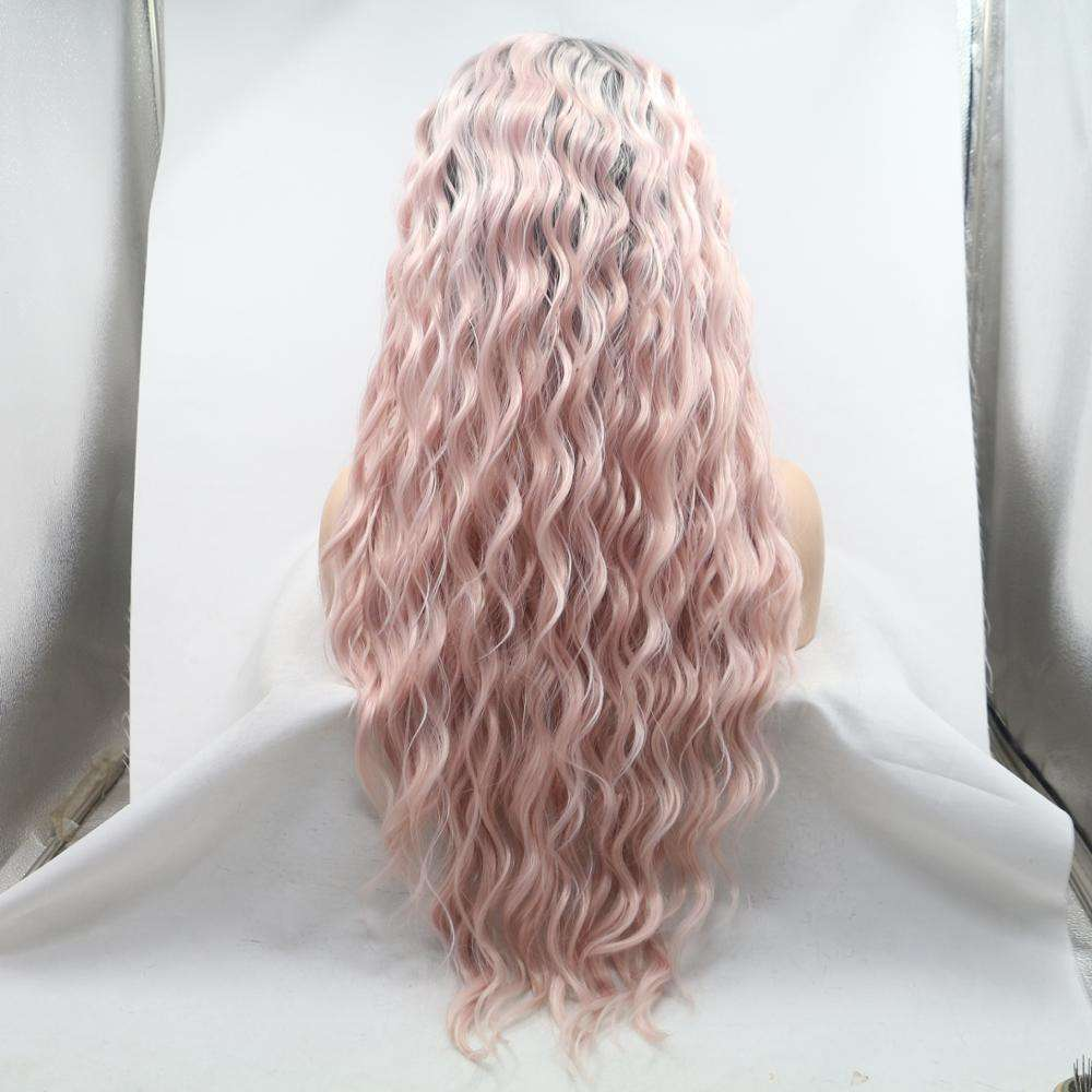 body wave long synthetic hair wig for women in stock cosplay use lace front synthetic wig with cheap price
