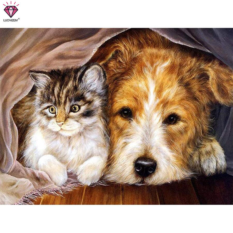 LUOVIZEM DYL-1611 Cat And Dog Diy Diamond Painting Kit By Number On Canvas Diamond Cross Stitch Patterns 50*40CM