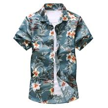 100% cotton floral short sleeve fashion casual shirt for men summer