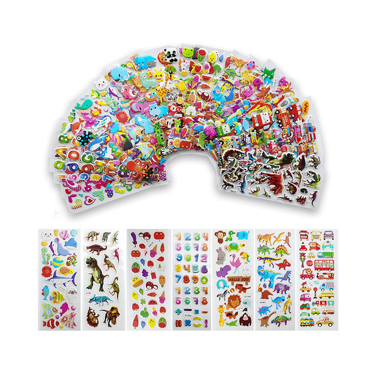 Wholesale 3d foam bubble DIY puffy non-toxic waterproof easy to peel off custom cartoon kids stickers