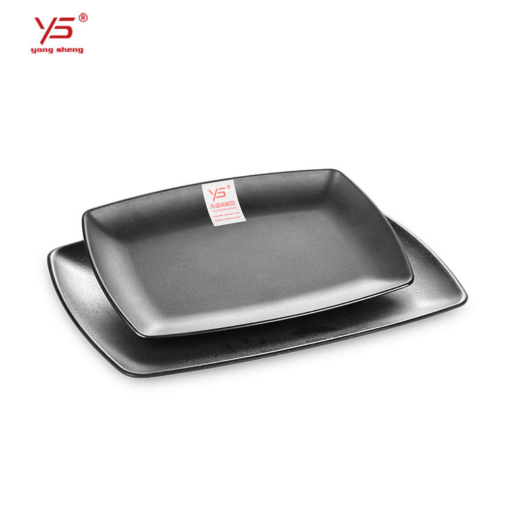 Trade assurance imitation ceramics black plastic dinner plates