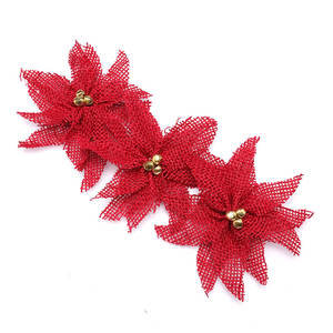 HOT SALE Red Velvet Ribbon Gold Trim Edge Christmas Decoration Holiday Bow