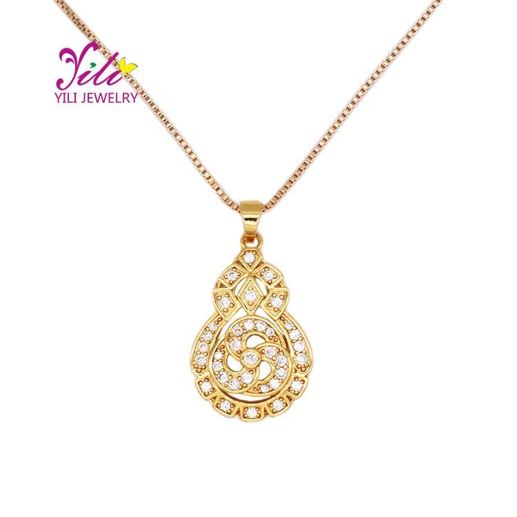 women accessories dainty pendant 24k solid gold necklace bulk for jewelry making(N95293)