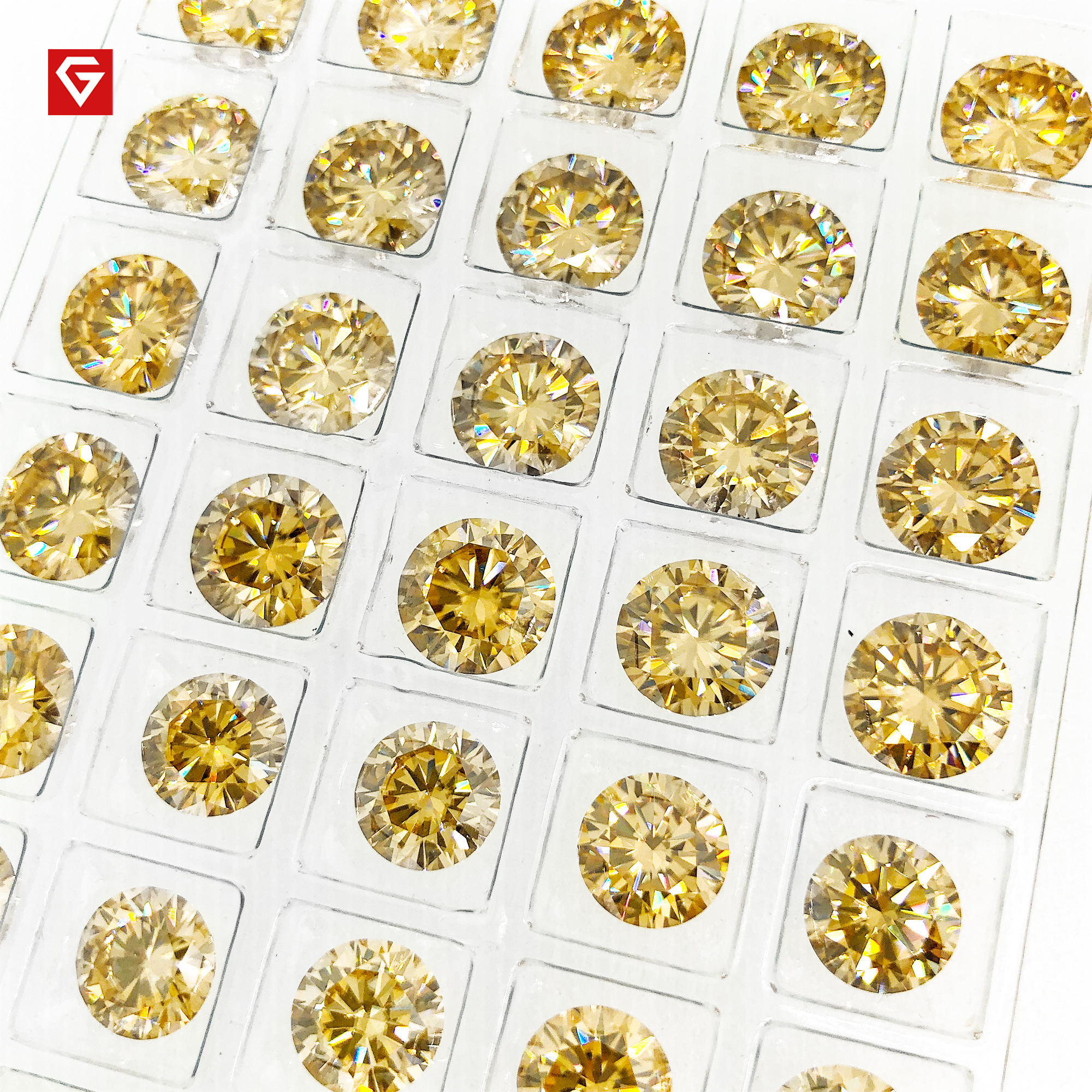 GIGAJEWE Wholesales Loose 6.5mm 2ct Round Cut Champagne Yellow Colored For Making Jewelry Moissanite Diamonds