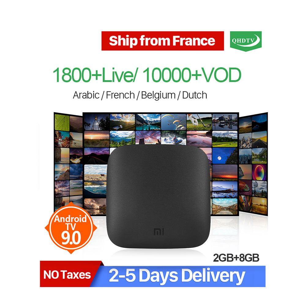 QHDTV IPTV 12 Months Subscription with Xiaomi Mi Box 3 Android 8.0 WIFI Quad Core 2G RAM 8G ROM 4K Shipped from France