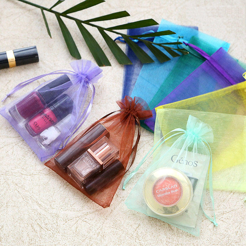13x18cm/5x7 inches 25 Colors in stock Promotional Small Mesh Drawstring Gift Package Bag Bulk Organza Bags Wholesale