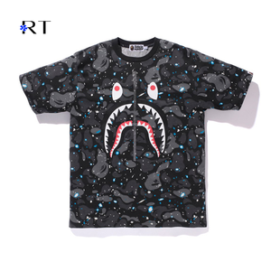 Good Quality Fashion Camouflage Sky Luminous Splicing Shark T-shirt Bape Clothing For Sale Bape Sky T Shirts Luminous T Shirts