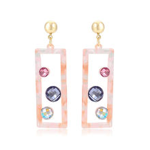 BL E-1059 Xuping fashion S925 silver jewelry colorful diamonds 14K gold color acrylic earrings for women