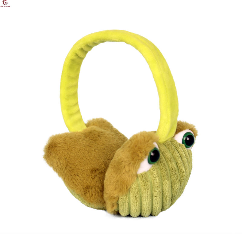 Giraffe Elephant Cartoon Animal Brown Winter Earmuffs Ear Warmers Faux Fur Foldable Plush Outdoor Gift