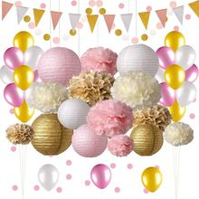 Tissue Pom Pom Flower Paper Circle Dots Confetti Glitter Triangle Garland With Balloons Wholesale Party Decorations