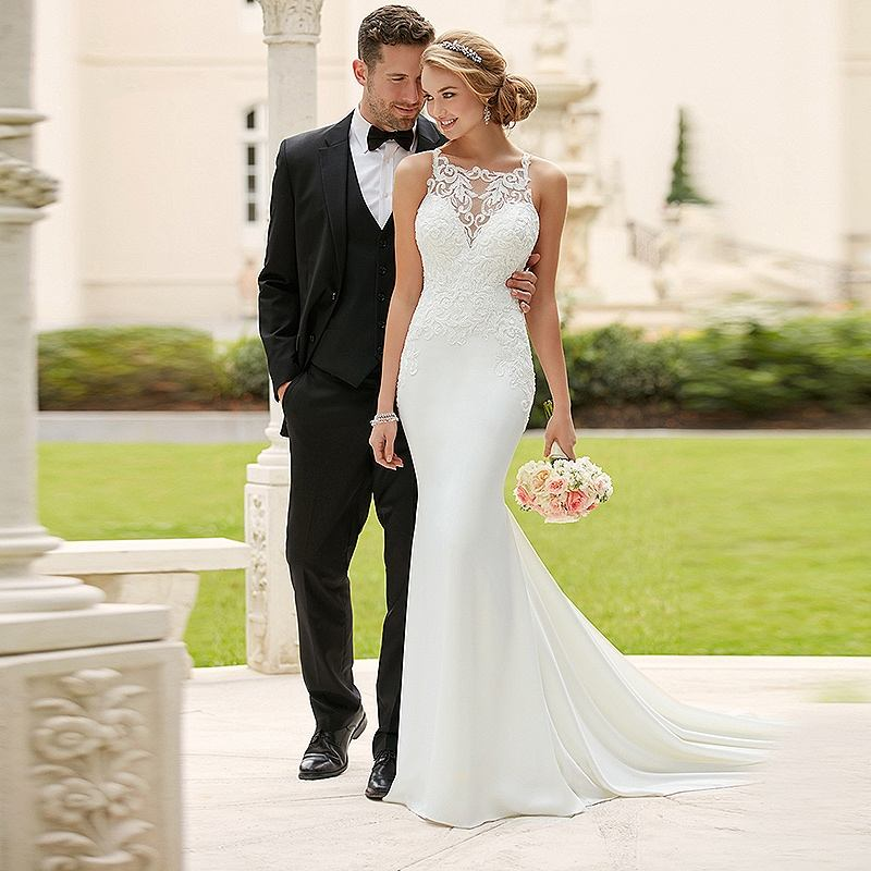 Custom Made Mermaid Satin Wedding Dresses Simple Sleeveless Wedding Gowns