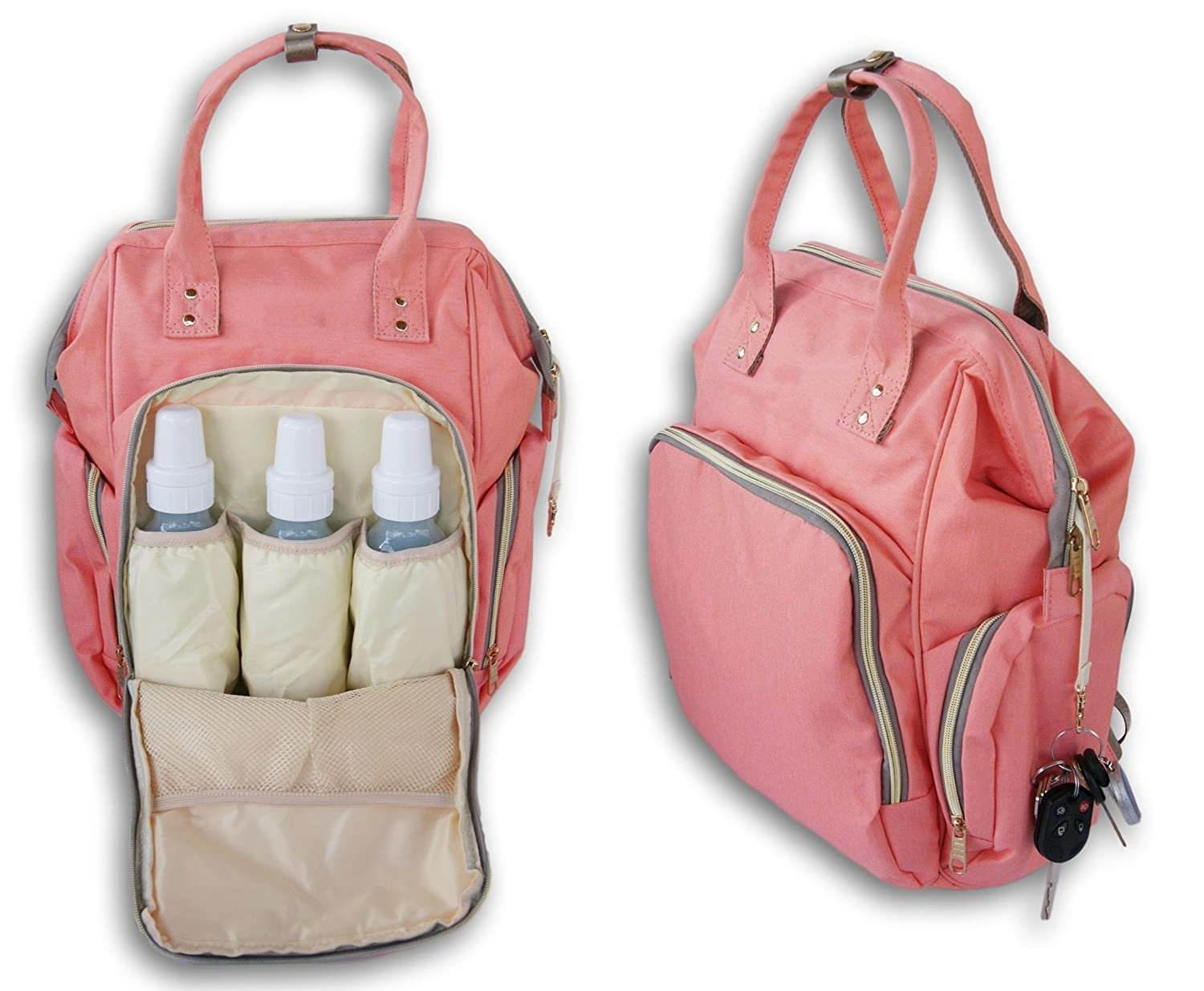 FREE SAMPLE Large Backpack Baby Changing Diaper Bag Coral Pink diaper bag