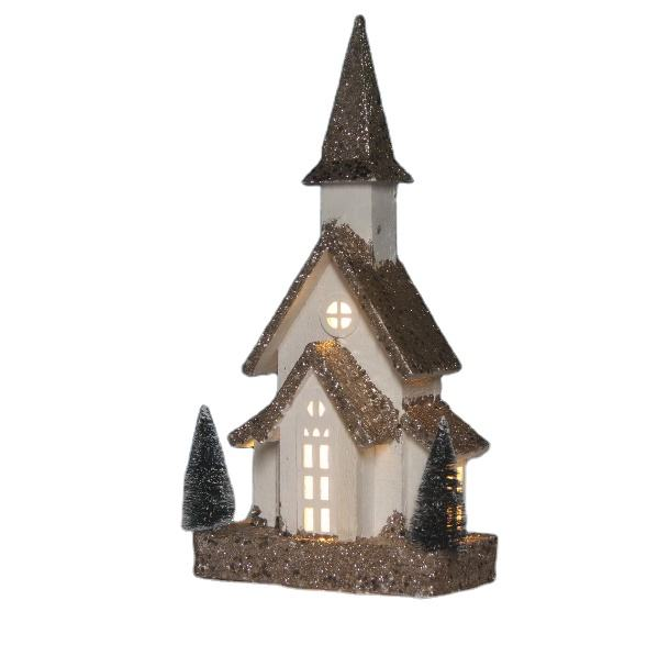 wood christmas decoration crafts miniature christmas church 70739