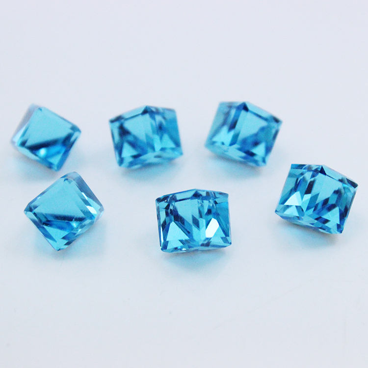 Aquamarine color good quality crystals healing stones synthetic cube glass gemstone