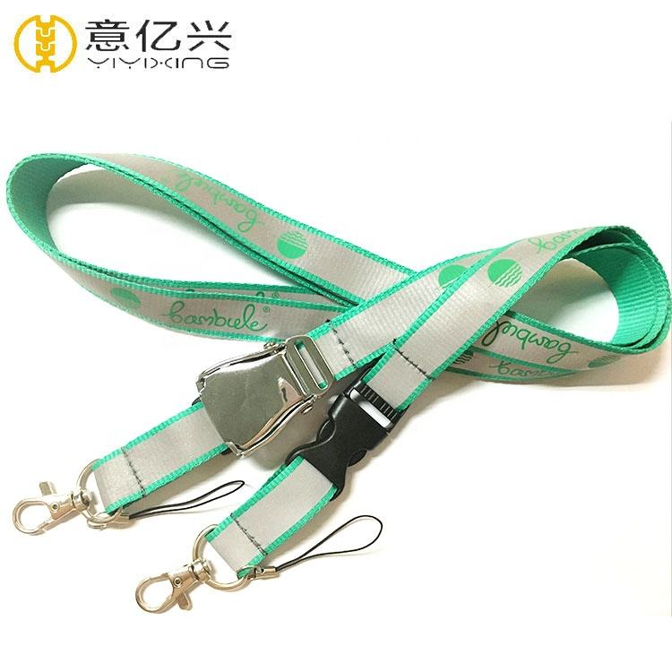 Clear Logo Designed Neck Strap Airline Buckle Seatbelt Reflective Lanyard With Logo