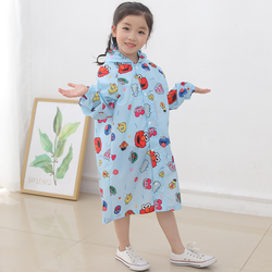 Button Kids Rainwear Polyester Fabric Raincoat With Backpack Pocket For Children
