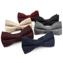 Mens Thick Business Bowtie Striped Butterfly Men Solid Color Wool Polyester Cravat Unisex England Style Bow Tie