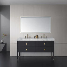 Modern style expresso bathroom cabinet floor mounted double sink