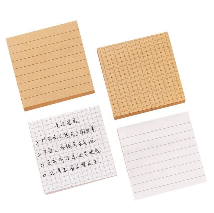 Wholesale Custom School Supplies Simple Sticky Notes Kraft Paper Memo Pad Writing Notes