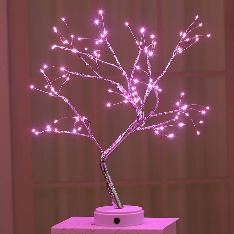 Battery and Usb Operated Warm White Glow Silver Branch Led Bonsai Tree Light Artificial Tree Adjustable Branches