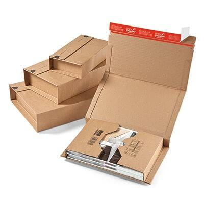 Self Seal Strong Cardboard Book Wrap Postal Boxes Mailers Adjustable Amazon Packaging Packing Mailing Shipping DVD CD Carton