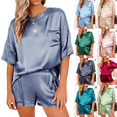 Spring Summer Silk Pajama Set Women Sexy Silk Sleepwear Home Suit Satin Pajamas Female Loose Lounge Wear Sets Pjs Women Coldker