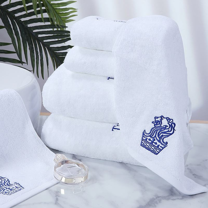 Personalized Custom palais royale amazon white embroidery bath towel in bulk hotel bedroom sets