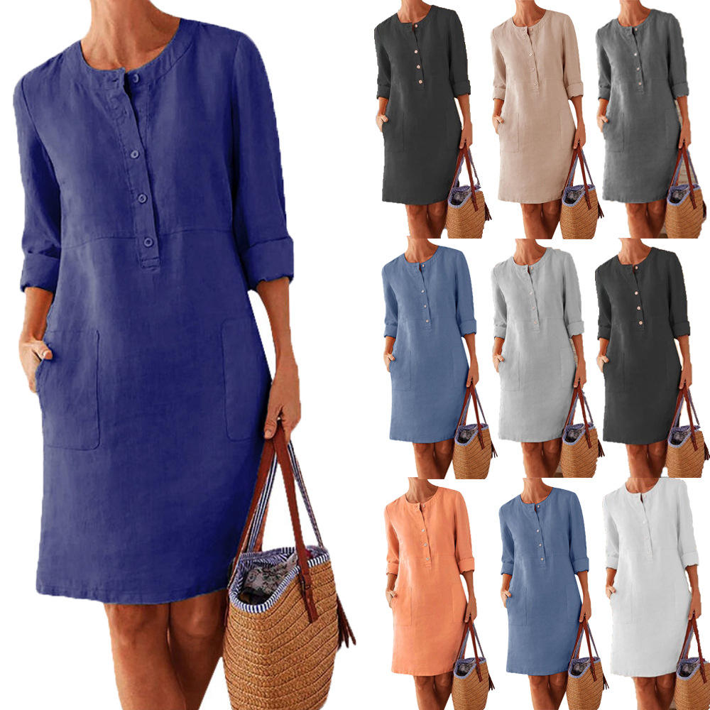 Plus Size Casual Solid Color Cotton Linen Women Long Sleeve Tunic Kaftan Dress Casual Buttons Work OL Sundress Robe Solid Dress