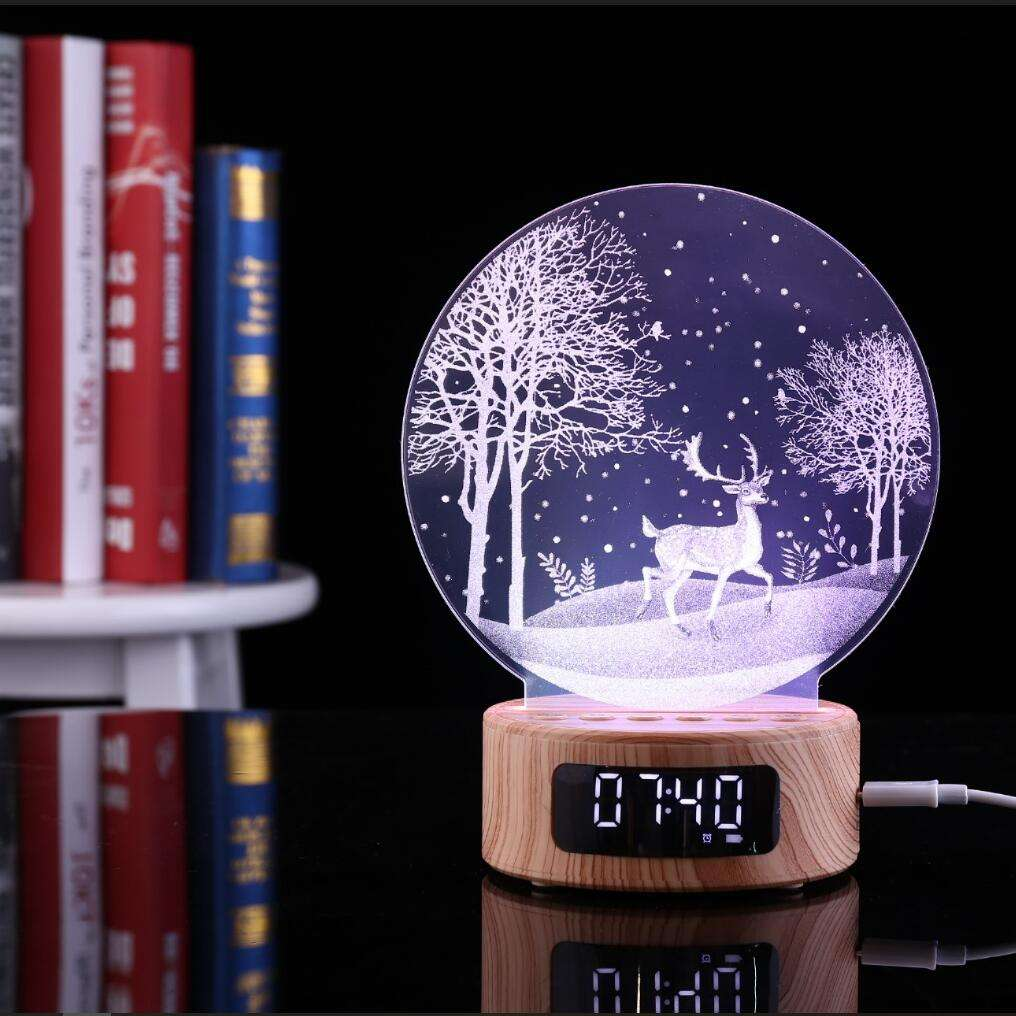 SOCOVE Factory wholesale BT speaker 7 Color Changing 3D Night Light Wireless Night Light LED Lamp timing table lamp