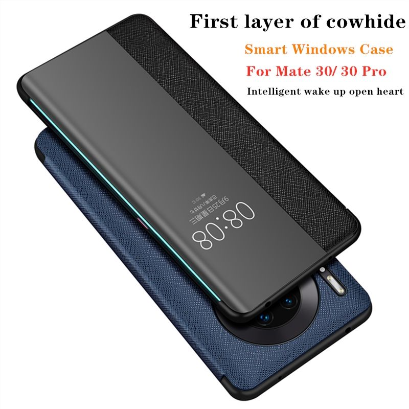 Visible phone case for huawei mate 30 pro first layer of cowhide Smart windows leather wallet case for mate 30