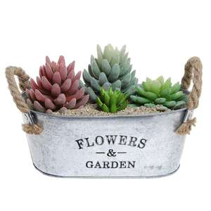 Brief shape garden decoration metal flower pot with handle