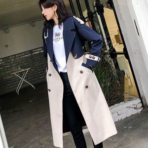 Vintage blue Color patchwork long trench coats spring cheap trench outerwear