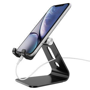 Aluminum Alloy Cell Phone Stand, Nice Simple Design, Adjustable Angle, Anti-Slip Base, Convenient Charging port for smartphones