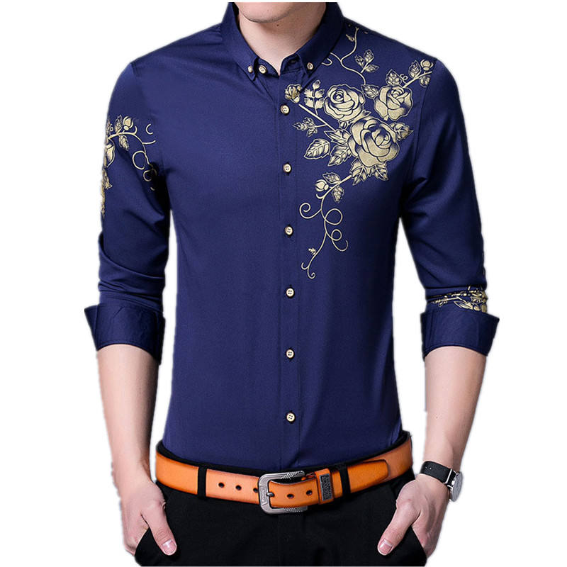 Wholesale Casual Dress Slim Fit Floral Printing Formal Men's Shirts