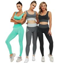 Women Cool Fit Compression Stretch Non-see Through Yoga Suit Gym Leggings Yoga Wear Sport Clothing Set