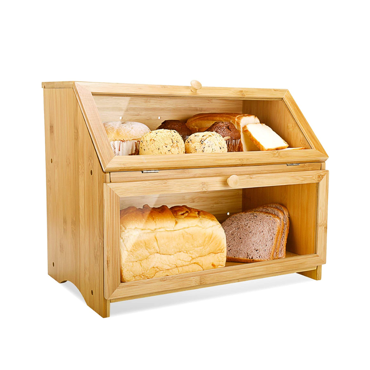 Bamboo Bread box 2 Tier With Window Lid For Kitchen